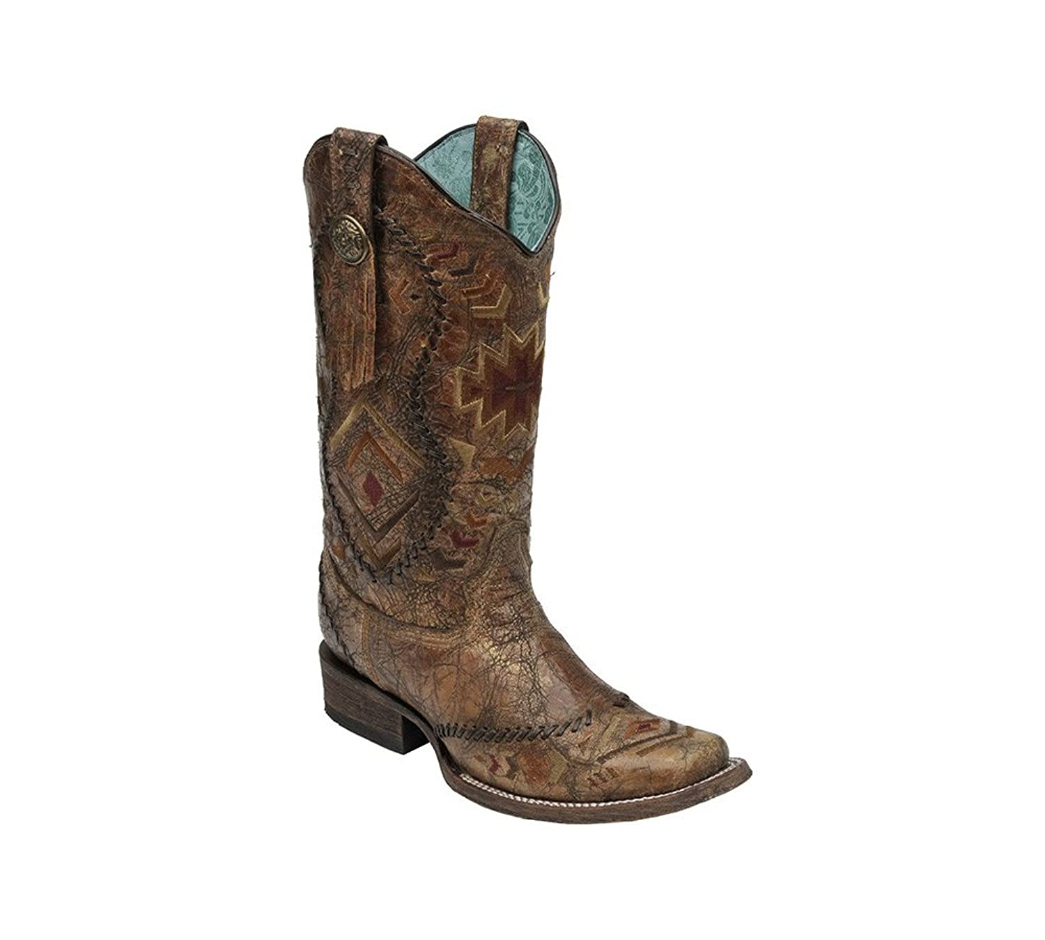 CORRAL Women's C2915 Ethnic Pattern & Whip Stitch Square Toe Western Boot