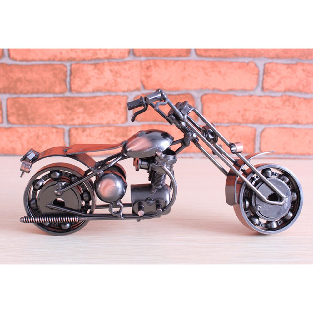 Vorcool Vintage Iron Harley Davidson Motorcycle Model Handmade Pink Classic Models Retro Handicraft Collectible Art