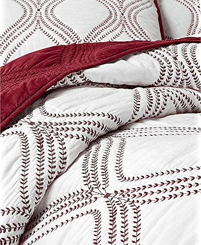 affordable Martha Stewart Collection Embroidery Gramercy Gate Cotton Reversible King Quilt White Red