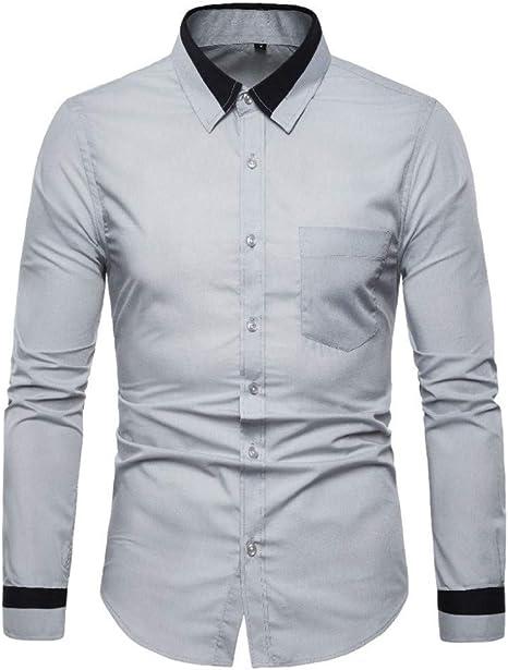 CHENS Camisa/Casual/Unisex/XXL Camisas de Hombre de Manga Larga de Corte Regular a Rayas más el tamaño de Empalme de la Camisa de Moda de Negocios Camisas de Vestir Blusa Top Mas: Amazon.es: