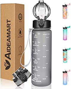 Water Bottle with Time Marker Motivational,Include 2 Lids (Straw Lid &Flip Top Lid)Removable Strainer,Carry Strap,Leakproof Non-Toxic BPA Free Tritan for School,Fitness, Gym and Outdoor Sports