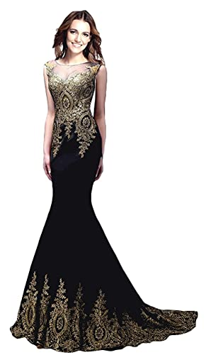 Rong store Rongstore Women`s Sleeveless Mermaid Evening Dresses Gold Lace