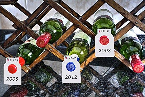 Reusable Wine Bottles Tag Racks Bottle Labels Hang Tags Cellar Storage Glass Markers Plastic Custom Label Fit Enthusiast Erasable Wipes Dry Erase Marker Colored Rack Bulk Blank Liquor Hangers 120 PCS by Dapper Display (Image #3)