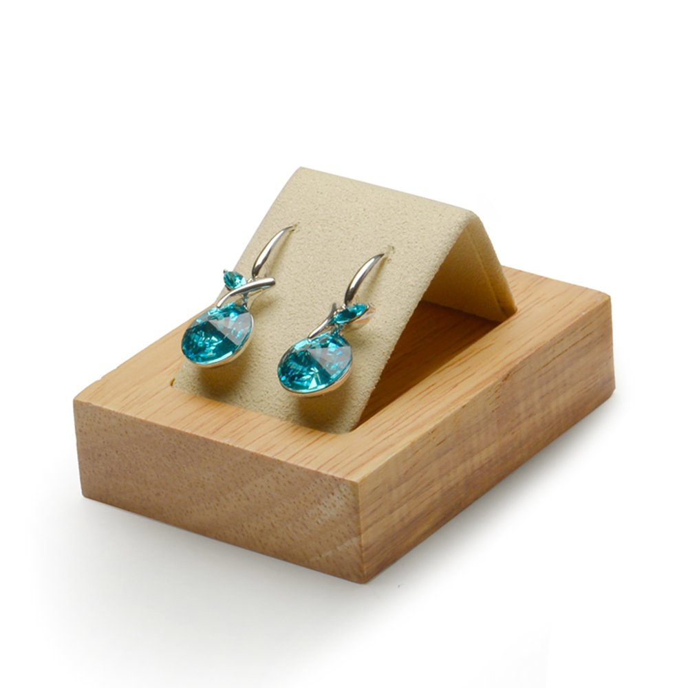 Oirlv Wood Earring Display Stand Earrings Holder Show Microfiber Surface(Creamy-white)