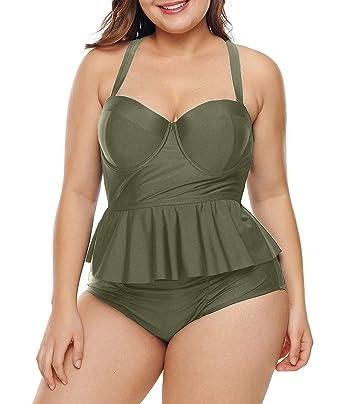 8e574adf733 Lalagen Womens Plus Size Strap Peplum Tankini Two Piece Bathing Suit  Swimwear Army Green M