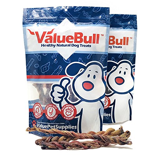 ValueBull Dog Chews, Lamb Pizzle Twists, 6-9 Inch, 40 Count from ValueBull