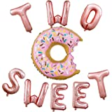 """CheeseandU Donut Party Supplies 23"""" Pink Donut Foil Balloon 16"""" Two Sweet Rose Gold Letters Foil Balloons Great for Baby 2nd Bday Party Decoration Baby Shower Donut Time"""