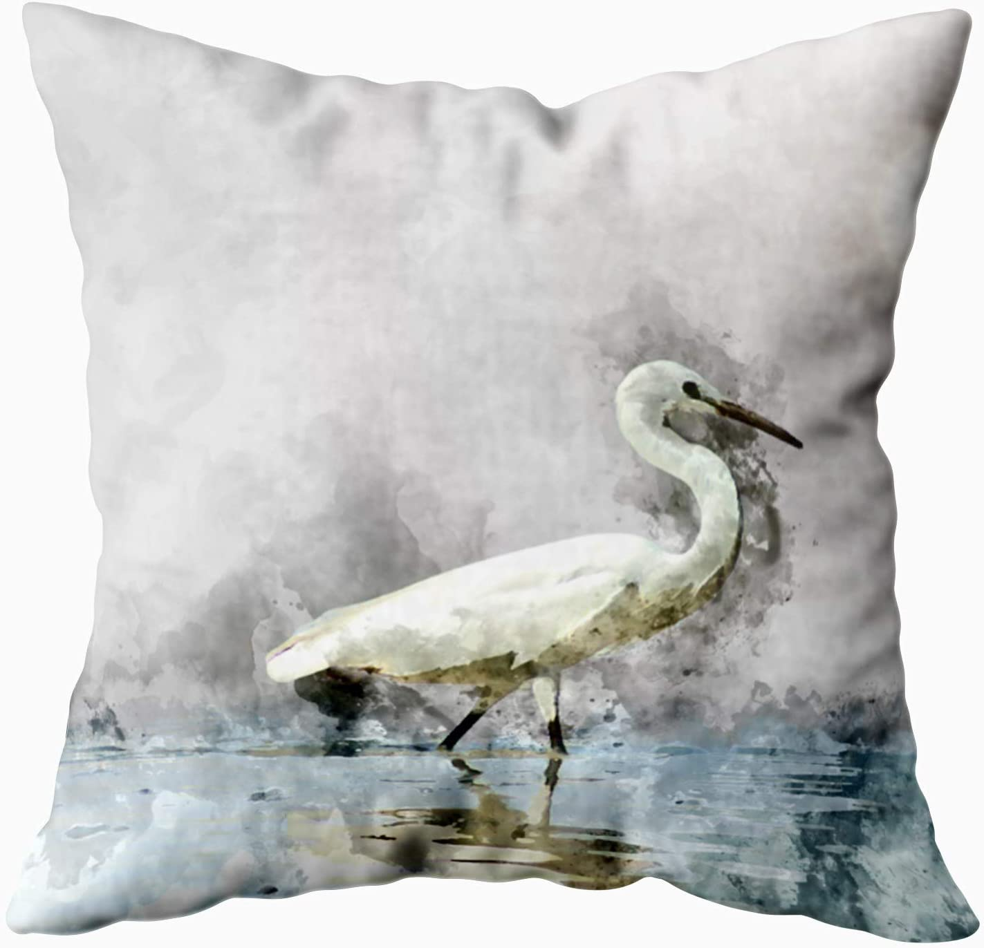 Amazon Com Shorping Decorative Pillow Covers Zippered Pillowcases 20x20inch Throw Pillow Covers Watercolor Image Little Bird Lake For Home Sofa Bedding Home Kitchen