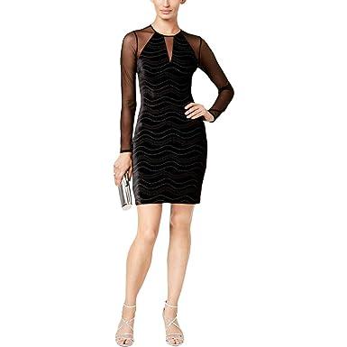 4398afa06922d GUESS Womens Velvet Glitter Cocktail Dress Black 10 at Amazon ...