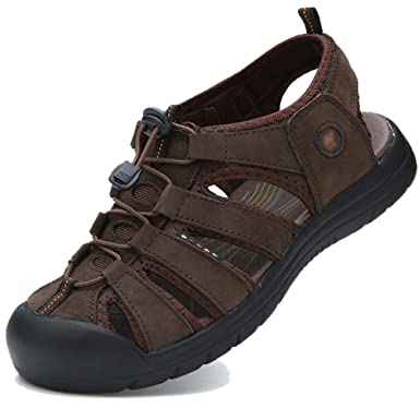 Sandalia Para Hombre Chancletas De Agua Con Protección Cerrada Zapatillas De Caminar Para Caminar Zapatos De Trekking En La Playa De Verano,Brown-44: ...