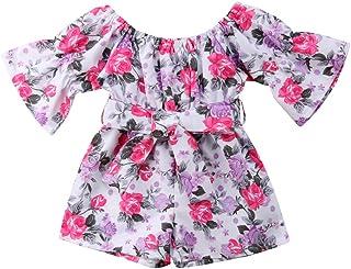 Lzxuan Pink Floral Dress Toddler Infant Baby Girls Short Sleeve Off Shoulder Rose Dress Summer Outfits Clothes