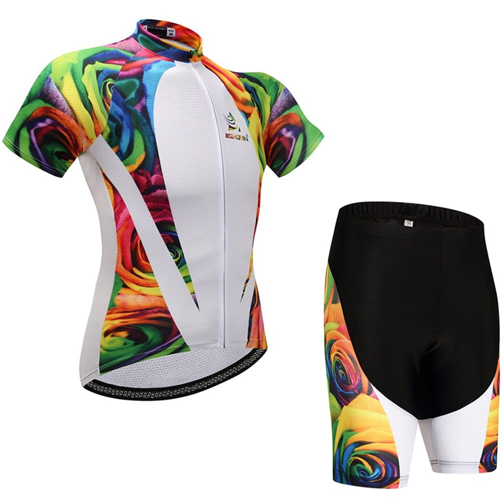 Uriah Women's Cycling Jersey Shorts Sets Short Sleeve Rose White Size XXL(CN) by Uriah