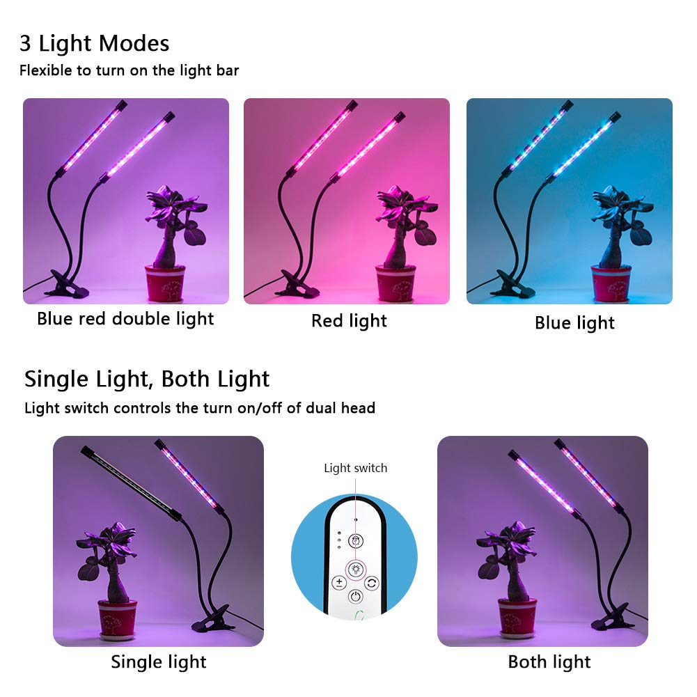 Indoor Plant Grow Light, GIGRIN 27W Plant Light 4/8/12H Timer Grow Lamp for Indoor Plants Hydroponics, Adjustable Gooseneck, Dual Head and Red/Blue LED Beads Divide Control (5 Dimmable Levels)