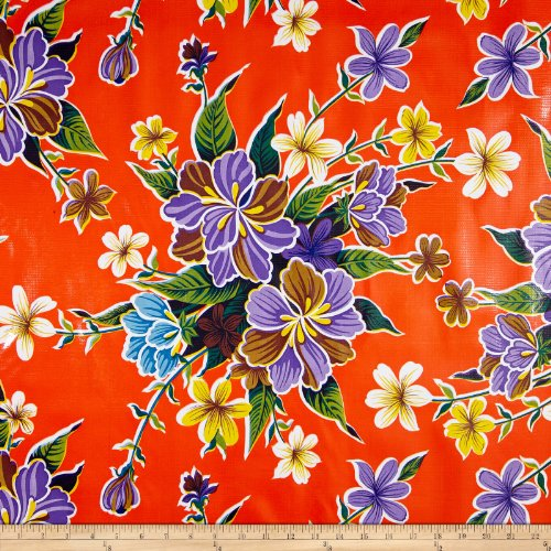 Oil Cloth International Oilcloth Hibiscus Orange Fabric by The Yard, ()