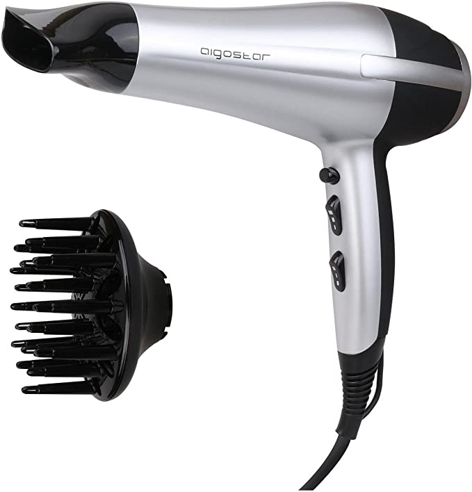 Aigostar Daphne 32GPO - Sèche-cheveux professionnel de couleur noir et argent avec diffuseur et accessoires. 2200 W. Design exclusif d'Aigostar
