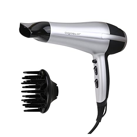 Aigostar Secador profesional de pelo en color plateado y negro con difusor y accesorios. 2200