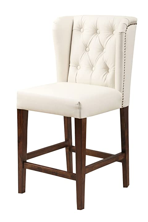 Abbyson Monica Pedersen u0026quot;Finleyu0026quot; Tufted Leather Bar Stool ...  sc 1 st  Amazon.com & Amazon.com: Abbyson Monica Pedersen