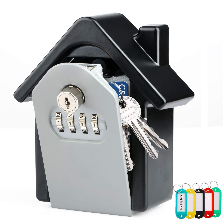 Key Lock box da parete, cassaforte per chiavi, grande capacità Home Key Safe con lucchetto con combinazione 4cifre serratura e chiavi di emergenza per casa ufficio garage scuola Jazmin