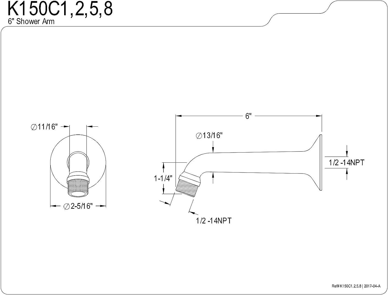 Kingston Brass K153A2 Plumbing Parts 10-Inch Hi-Lo Adjustable Shower Arm Polish