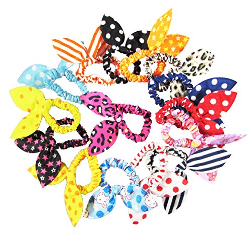HipGirl 15pc Cute Girl Rabbit Ear Hair Tie Rubber Band, Ouchless No Metal Elastic Beauty Pony Holder, Assorted, For Babies, Toddlers, Women, Teens. For Ponytail, Pigtail (15 PCS Bunny Ear Pony'Os)