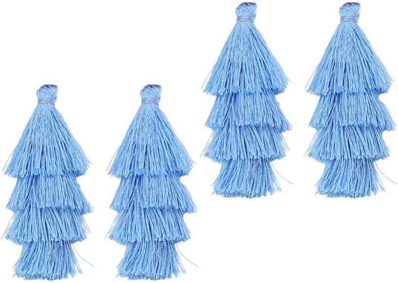 Healifty Fait /à La Main Bricolage Glands Mini Fil de Coton Glands Long Pompon Pendentif pour Boucle doreille Fabrication de Bijoux Bricolage Artisanat Accessoire 4 Pi/èces Bleu