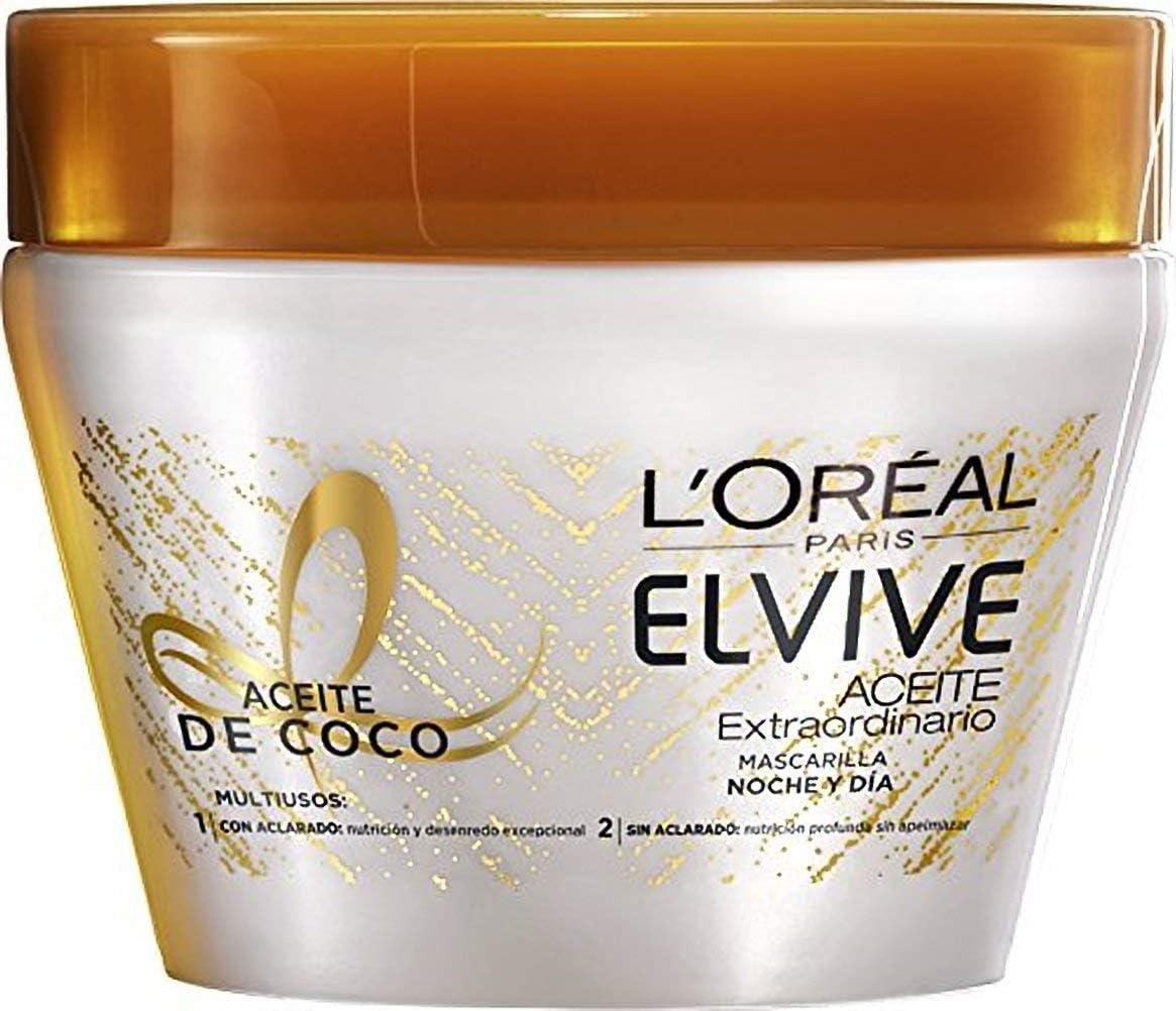 L'Oreal Paris - Elvive Aceite Extraordinario, Mascarilla con Aceite de Coco, Pack de 3 x 300 ml, total: 900 ml