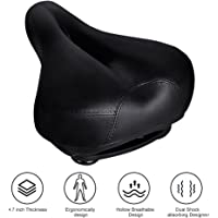 Tonbux Most Comfortable Bicycle Seat, Bike Seat Replacement with Dual Shock Absorbing Ball Wide Bike Seat Memory Foam Bicycle Gel Seat with Mounting Wrench