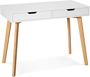 Homfa Writing Computer Desk, Laptop Notebook PC Workstation with 2 Drawers, Simple Study Makeup Vanity Table Modern Furniture for Home Office, White