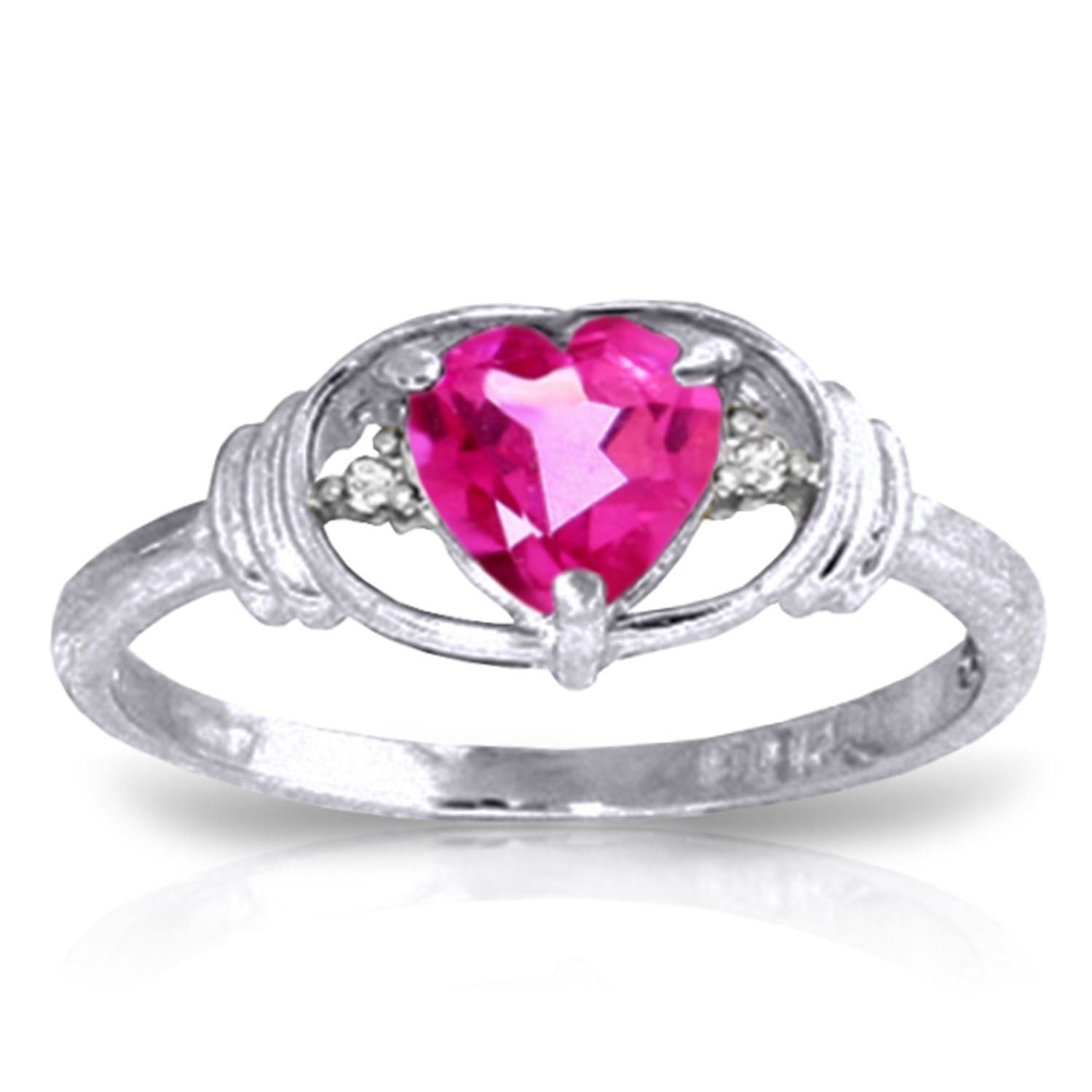 ALARRI 0.96 CTW 14K Solid White Gold Angel Standing By Pink Topaz Diamond Ring With Ring Size 11