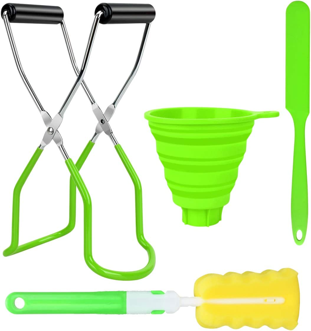 4Pcs Canning Supplies Include Canning Jar Lifter Tongs with Grip Handle Canning Jars Lifter Wide Mouth Foldable Funnel Sponge Brush and Jam Spatula for Kitchen Canning Kits Canning Accessories (Green)