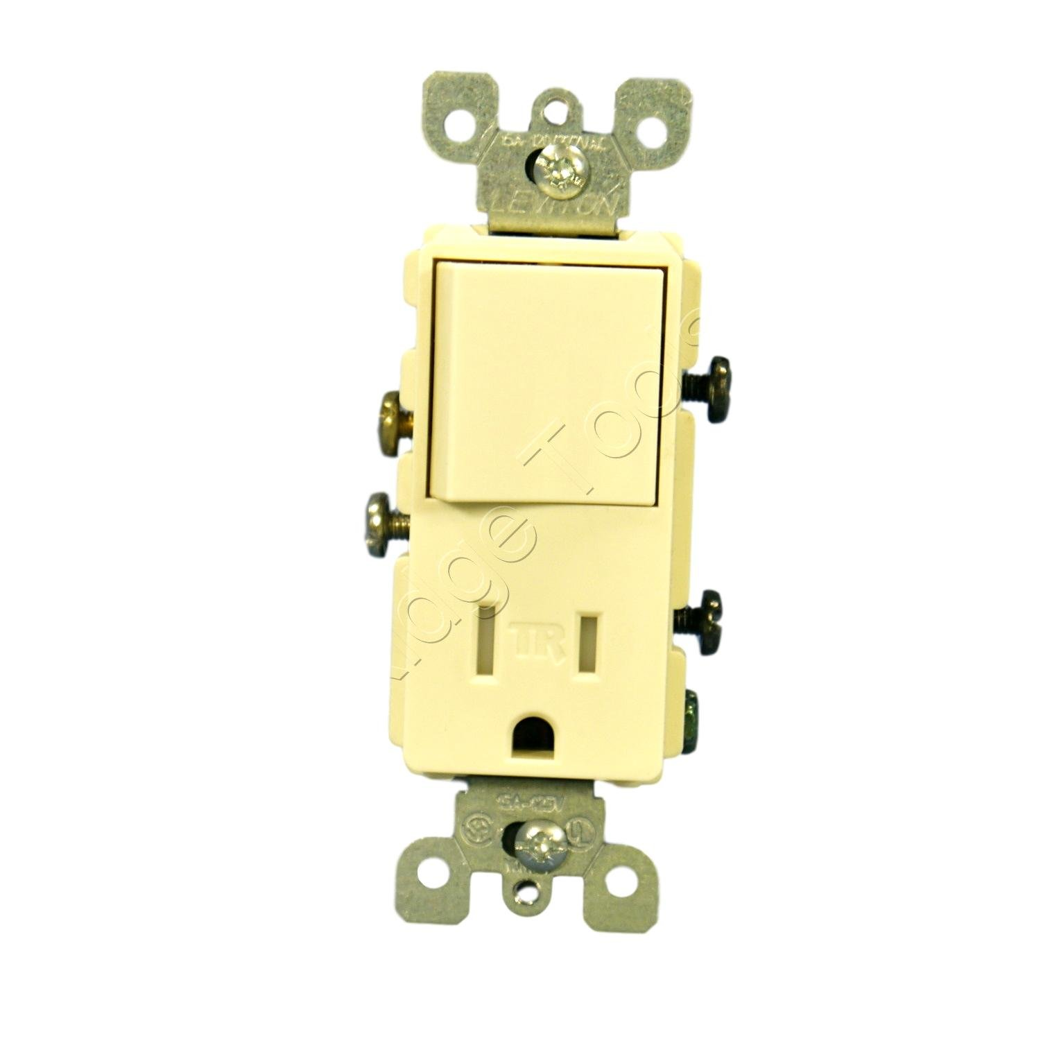 Leviton T5625-A Decora Combination Switch and Tamper-Resistant Receptacle, Almond