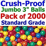 My Balls Pack of 2000 Jumbo 3'' Home Grade Crush-Proof Ball Pit Balls - Air-filled; Bright Colors; Phthalate Free; BPA Free; non-PVC; non-Toxic; non-Recycled Plastic