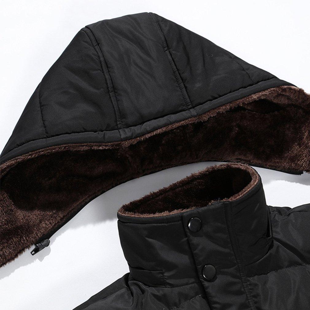 PHerMAN Men's Waterproof Fleece Ski Jacket Windproof Down Coat Puffer Jacket with Removable Hood (US XL/Tag 4XL, Black) by PHerMAN (Image #4)