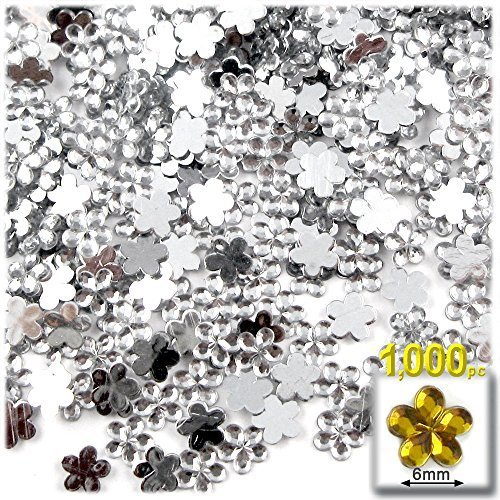 工芸のアウトレット1000-pieceアクリルアルミ箔フラットバックフラワーラインストーン、6mm、4mmクリア