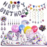 Birthday Party Supplies Party Decoration Theme Assorted Set - Silver Letter Star, Foil Balloons& Colorful Balloons, Confetti, Banner, Cup, Tablecloth, Napkin, Plates, Flags, Trumpets 100Pcs
