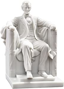Design Toscano WU75764 Abraham Lincoln Memorial Bonded Marble Resin Statue,White