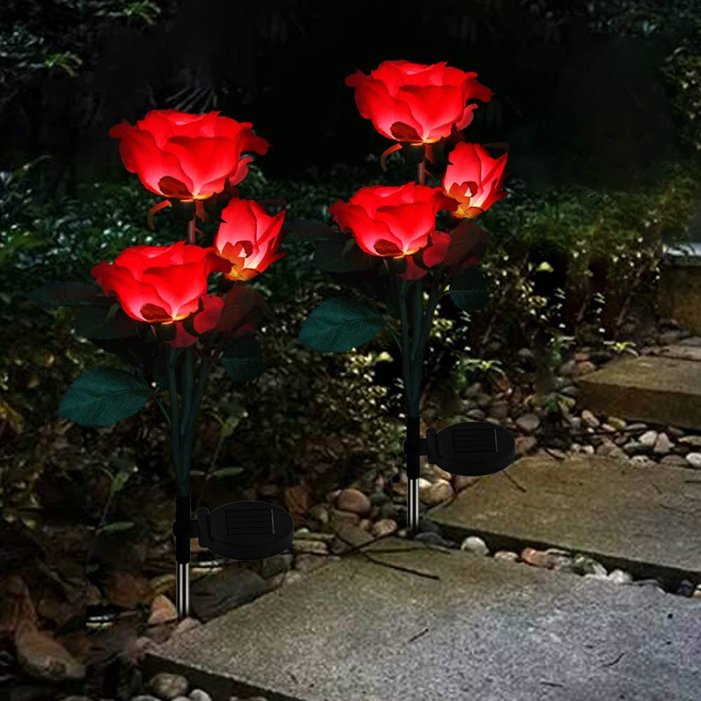 Solar Garden Stake Lights Outdoor Decorative LED Color Changing Solar Powered Rose Lights Waterproof for Garden, Courtyard, Backyard Decoration Perfect Valentine's Day Gift (Red)