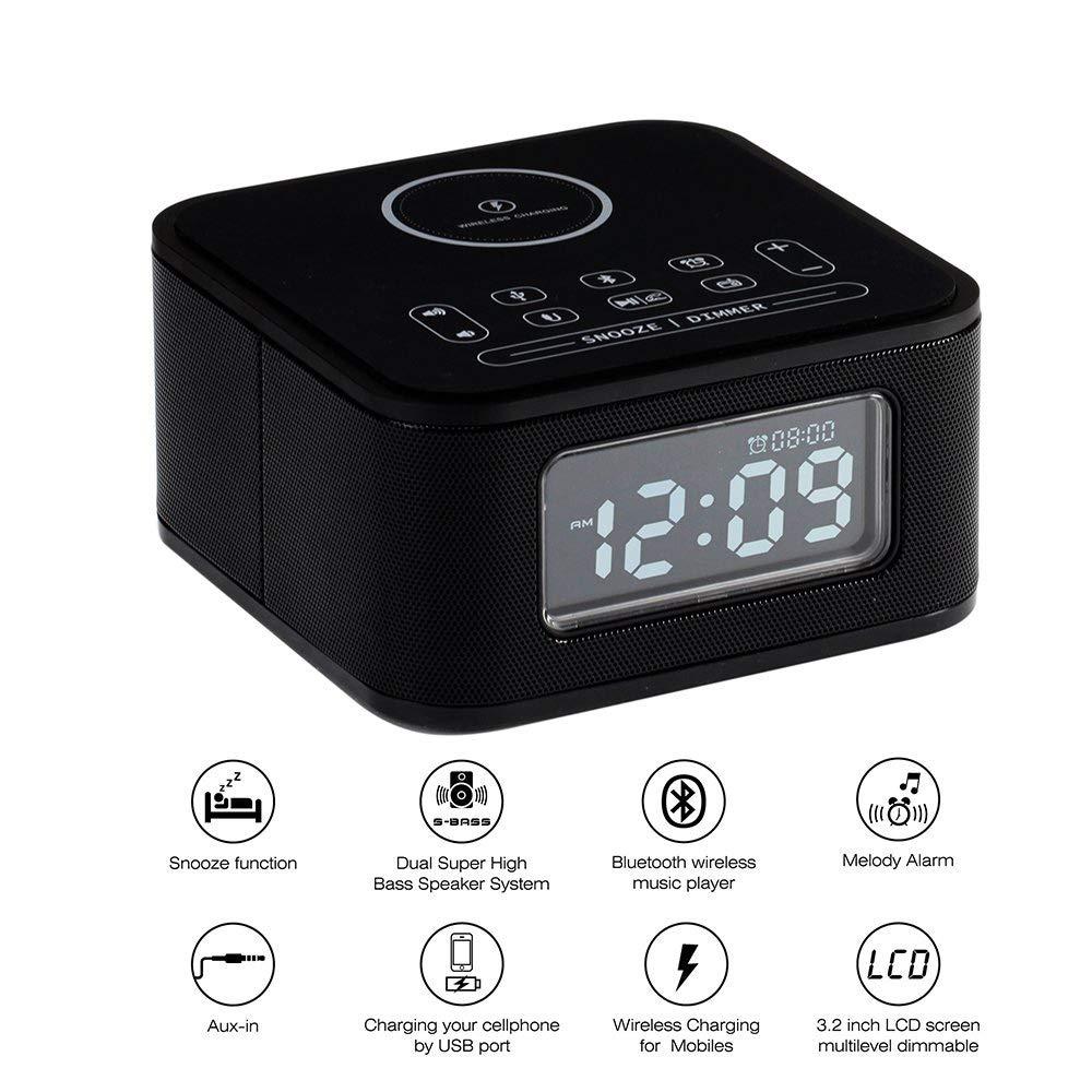 ワイヤレス充電目覚まし時計ラジオブルートゥーススピーカー寝室用ワイヤレス充電器iPhone X用Snooze 4調光器ハンズフリー   B07RP8B48B