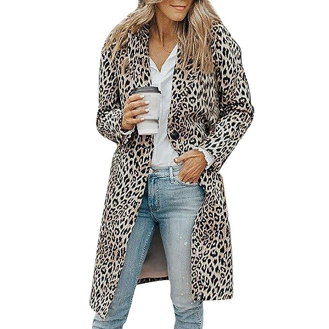 Linlink Mujeres Invierno Caliente Outwear Manga Larga Leopardo botón de impresión Moda Abrigo Blusa Camiseta Tank