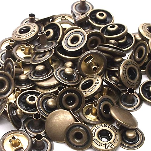 10 Pack Antique Brass 10 mm Spring Button Glove Snaps 1249-15