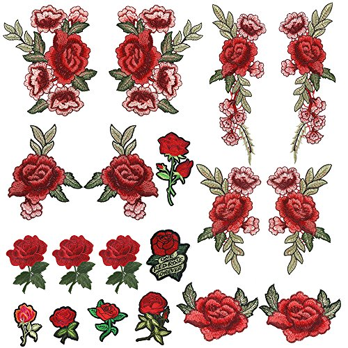OPount 19 Pieces Embroidered Patches Sew On Patch Applique and Iron On Rose Patch Embroidered Flower for DIY Clothing, Jeans ()