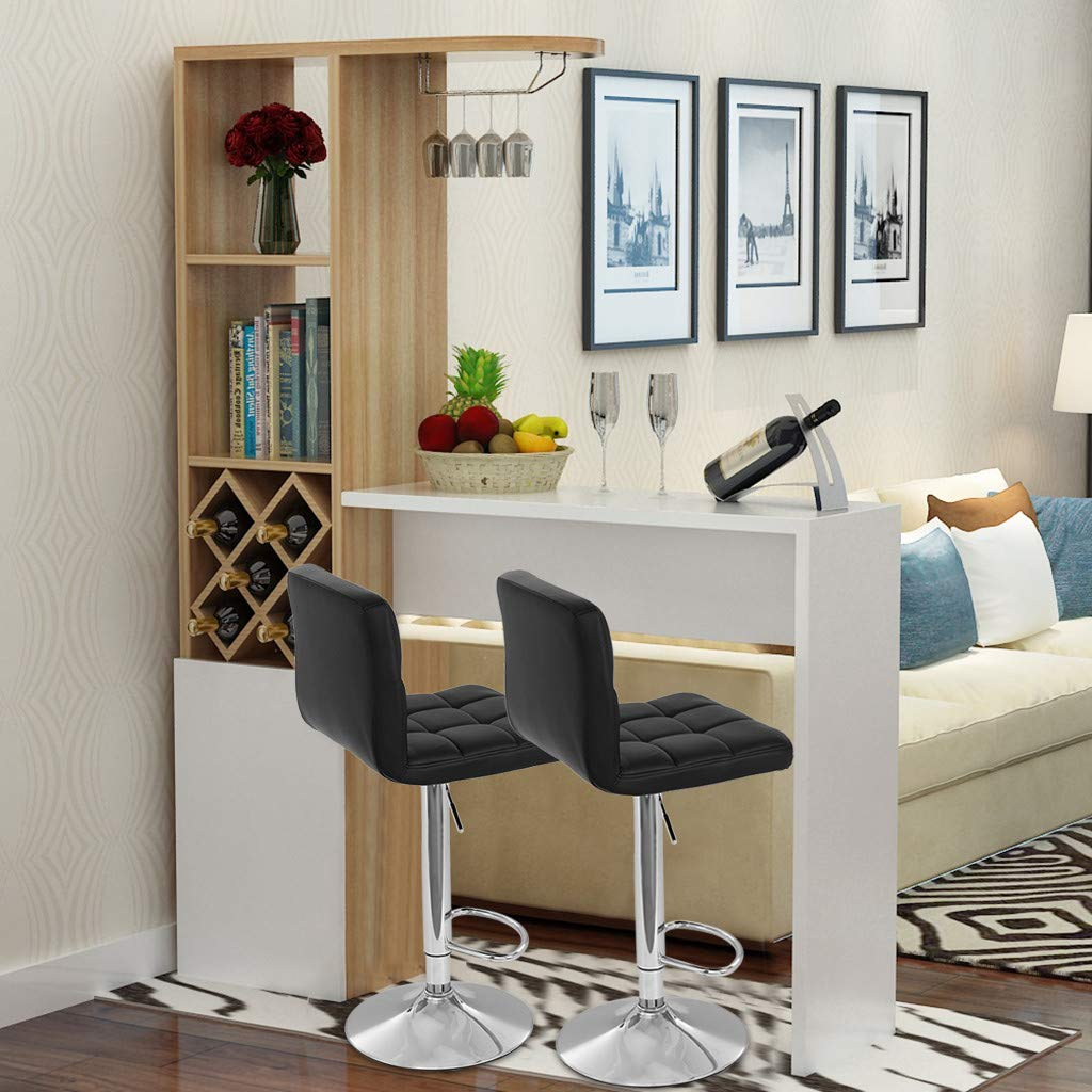 TADAMI Adjustable Bar Stools, Set of 2 Leather Bar Stools Counter Height Swivel Bar Stools Chair (Black) by TADAMI (Image #2)
