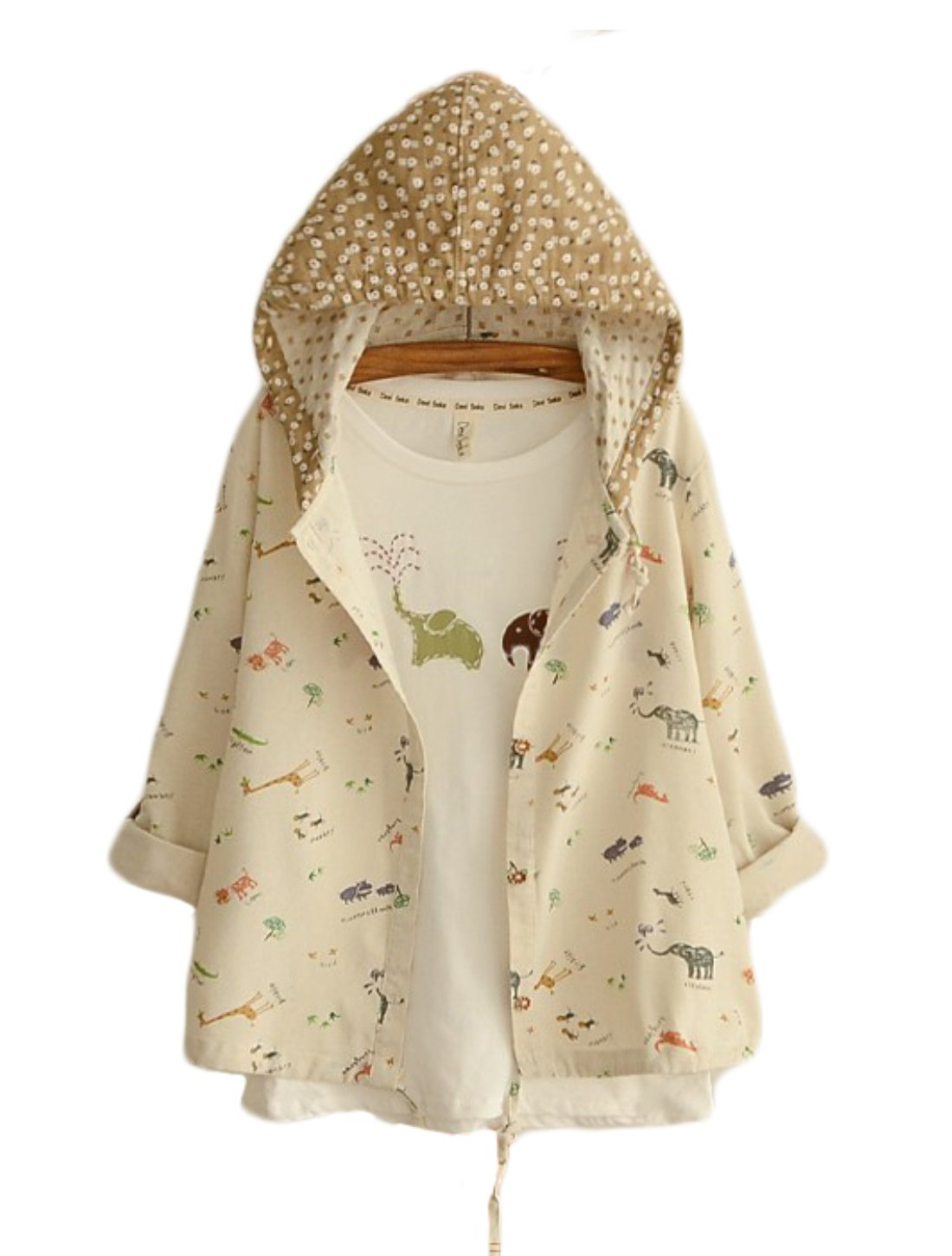 Aza Boutique Girl's College Style Soft Linen Fabric Hooded Coat