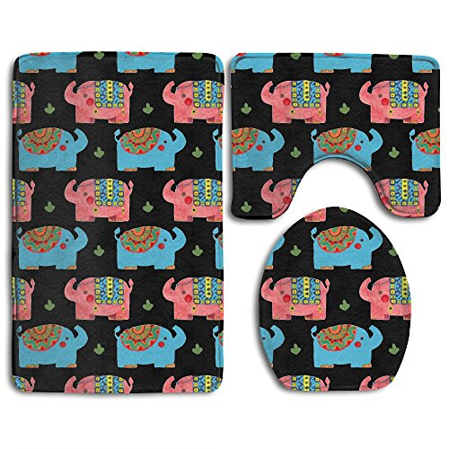 Home Essential Bath Mat Bathroom Non-Slip Pedestal Rug + Lid Toilet Cover + Bath Mat Set The Elephant Pattern Party Supplies Give Your Family The Best - Online Polo Coupons