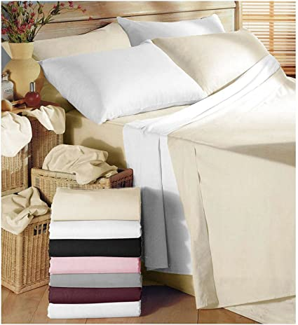 Easy Care Poly//cotton Plain Dyed Deep Fitted  Bed Sheet//Pillow Cases All Sizes