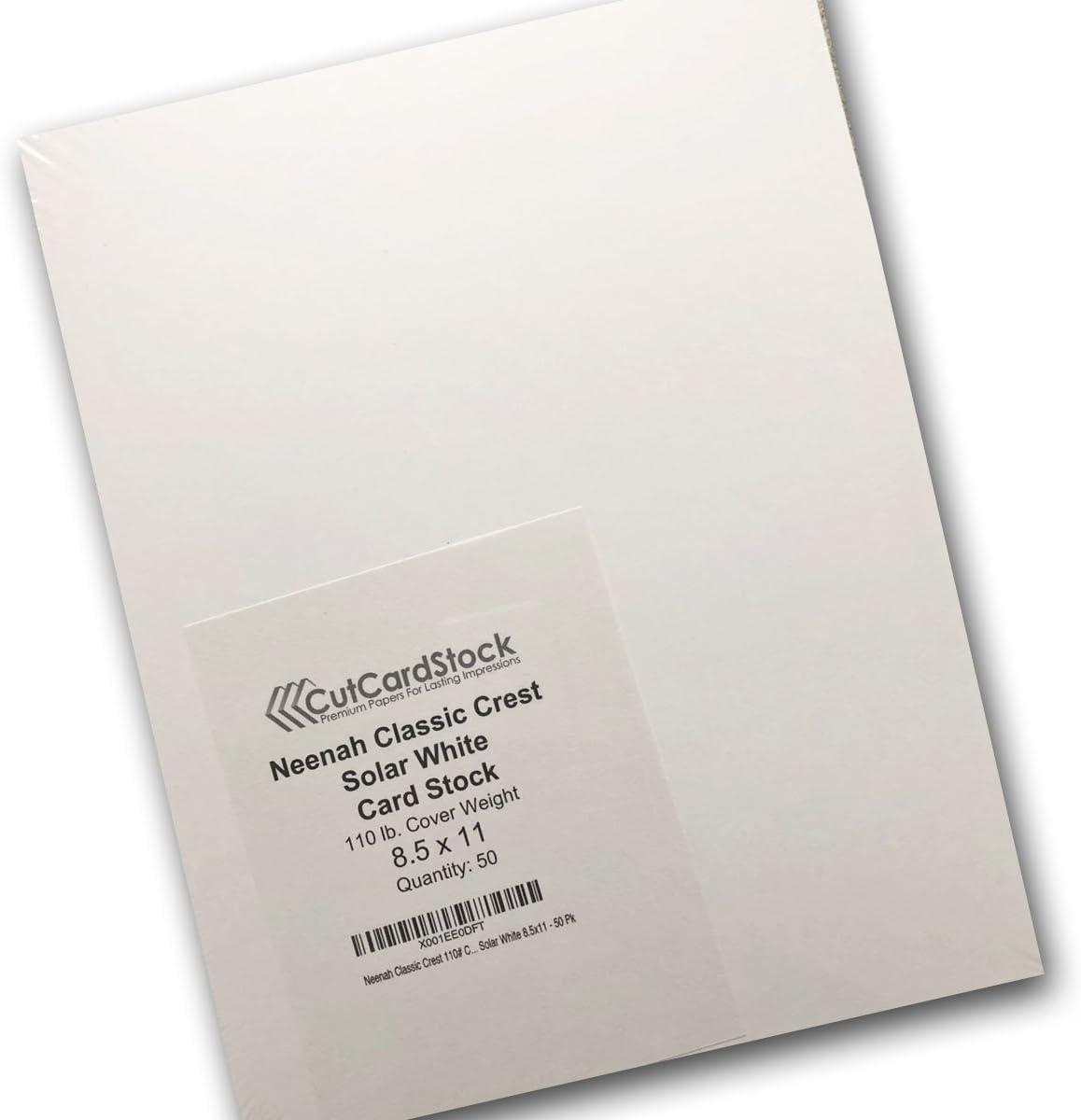 Neenah Classic Crest 110# Cover Solar White 8.5x11 - 50 Pk