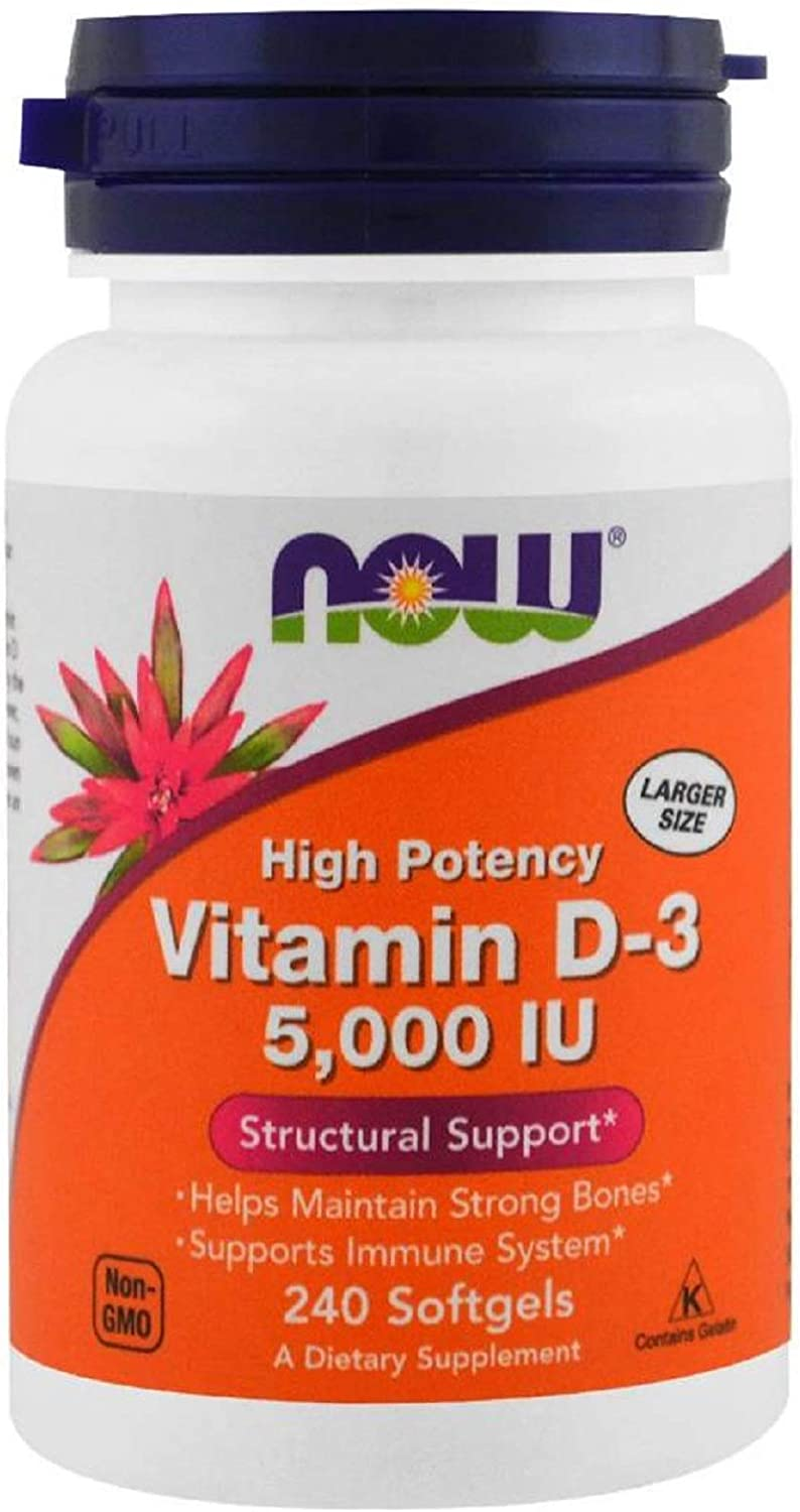 Vitamin D3 High Potency Helps Maintain Strong Bones Supports Immune System 5000 IU 240 Softgels