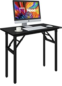 Need Folding Desk 80cm Length No Assembly Foldable Small Computer Table Sturdy and Heavy Duty Writing Desk for Small Spaces and -Damage Free Deliver(Black Walnut) AC5CB8040