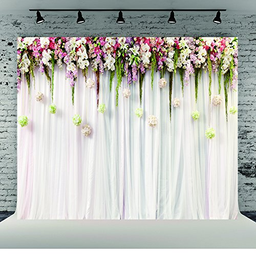 8x8ft White Wedding Ceremony Photography Backdrops Cotton Cloth Seamless Photo Background Studio Props Floral Pink Lace Curtain Party Decorations]()