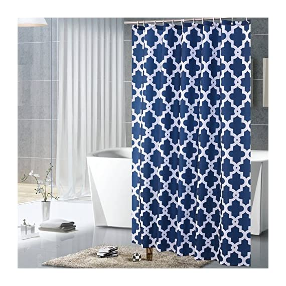 "Luunaa Geometric Patterned Shower Curtain Waterproof  , 72 x 72 Inch with 12 Hooks (Blue Geometric 72"" x 80"" ) - The fabric does not fade, perfectly weighted, very durable and easy care, use wet cloth and mild detergent to wipe off the dirt or machine wash directly. 72"" x 72"" (180 x 180 cm)/ 72"" W x 80"" L( 180W x 200L cm) for multiple choices; 12 Rust Proof Metal Grommets; Package include 1 x shower curtain and 12 x plastic curtain hooks We offer you high quality products with so favorable price and best service . Items can be returned within 30 days of receipt of shipment if you are not satisfied for any rea - shower-curtains, bathroom-linens, bathroom - 61%2BIk9bFiML. SS570  -"